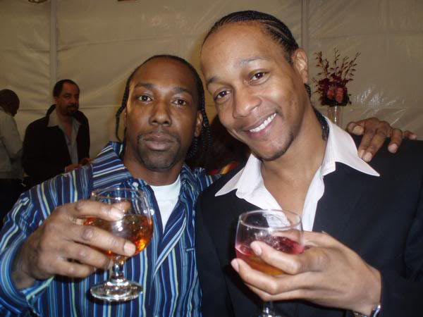 OG vets MC Eiht, left (W/S Tragniew Park CC) and DJ Quik (W/S Tree Top Piru) at Bigg Snoop Dogg's marriage anniversary party. (Photo c.2011)