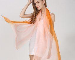 Luxusný hodvábny ružovo-oranžový šál, rozmer 185 x 68 cm ň
