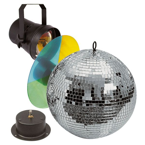 Komplettes Spiegelkugel-Set mit 30cm-Spiegelkugel, Motor, Farbrad und Pinspot mit Lampe!