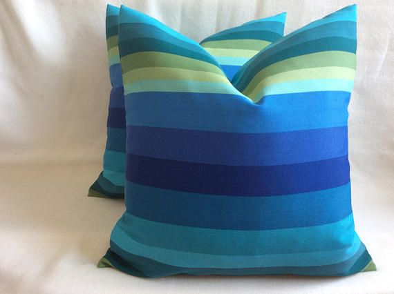 Pair of Striped Indoor/ Outdoor Pillow Covers - Shades of Blue - Berkshire Fabric  - 18x18 Covers