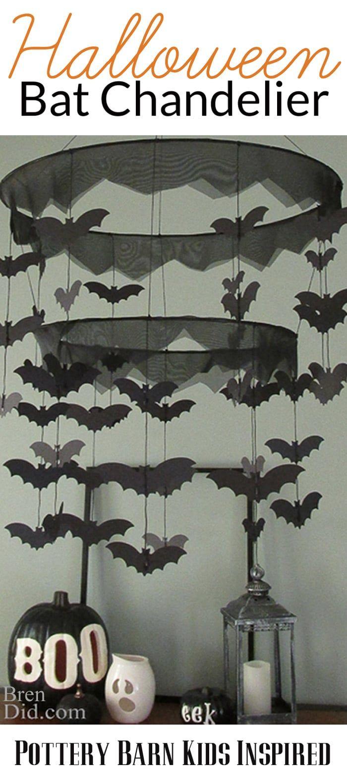 BrenDid Pottery Barn Kids Inspired Bat Chandelier- Easy DIY Halloween decor for less than half of PBK prices! #knockoffdecor #freeprintable
