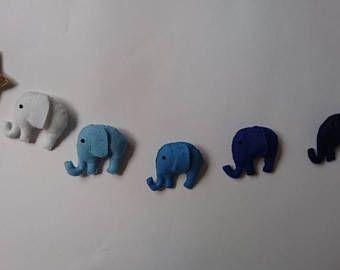 Elefante, fieltro de las lanas, guirnalda, vivero, ducha bebé, recién nacido,