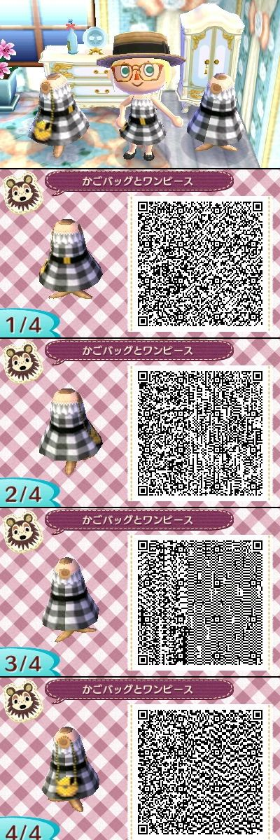 Animal Crossing New Leaf QR code - Black and White Checked Dress