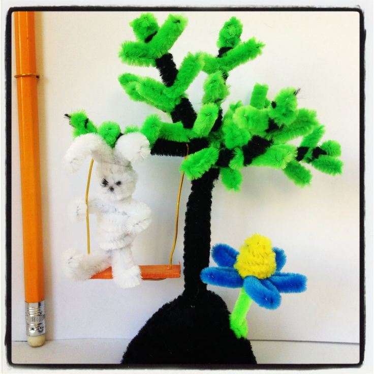Pipe cleaner tree crafts  עבודות יד מנקי מקטרות
