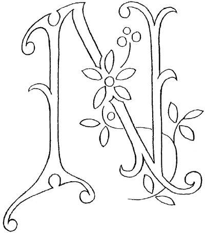 Monograma bordado de la mano: La letra N