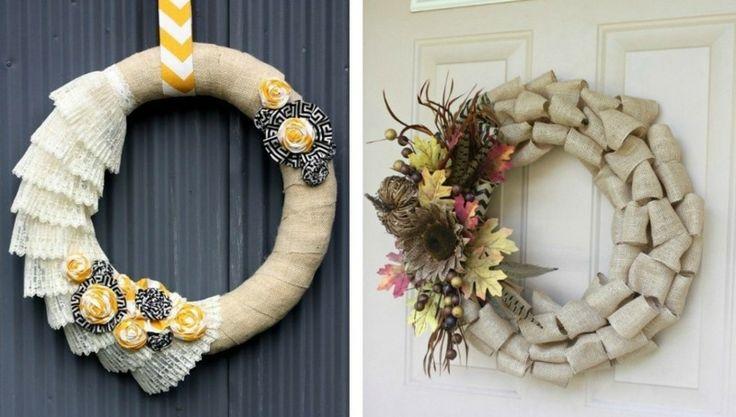 couronne d'automne originale à fabriquer en toile de jute décorée de dentelle et fleurs en tissu/fleurs et feuilles artificielles