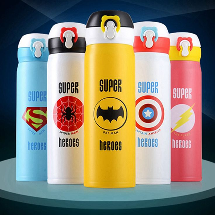 Super Hero Vuccum Flasks Creative Bounce Cover Thermos Mug Travel Cup Drink Thermol Bottle garrafa termica inox 350 500 ml termo #Affiliate