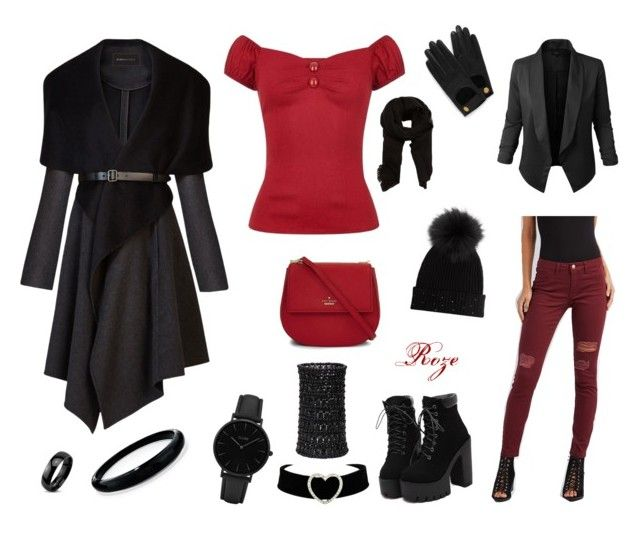 """Black-red for warmer winter days"" by azarum on Polyvore featuring Collectif, Refuge, Jupe de Abby, BCBGMAXAZRIA, Kate Spade, MANGO, M. Miller, Mulberry, CLUSE and Alexis Bittar"