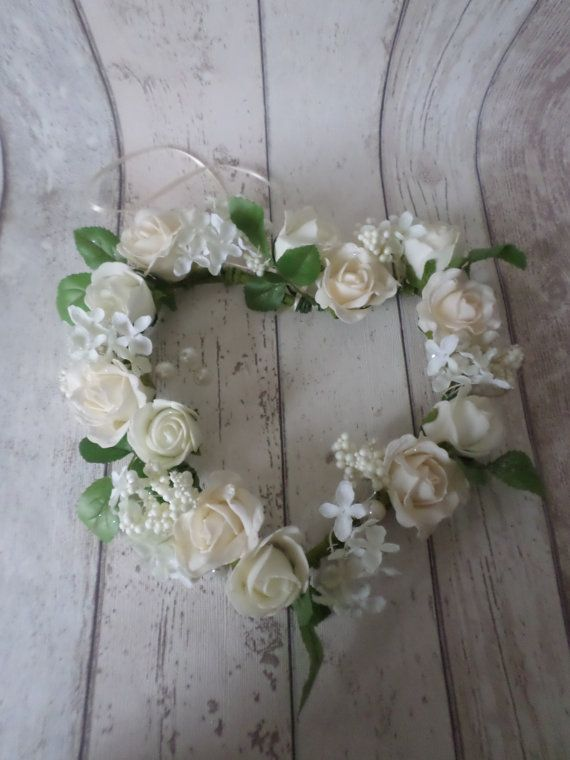 WEDDING HEART Wreath Ivory Cream Foam Rose by VGiftBoutique