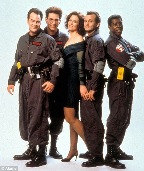 Ghostbusters cast 1984. Dan Aykroyd , Harold Ramis, Sigourney Weaver, Bill Murray, and Ernie Hudson.