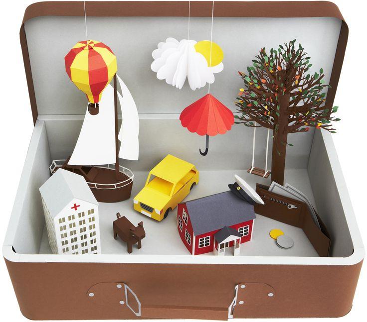 DIY suitcase paper scene
