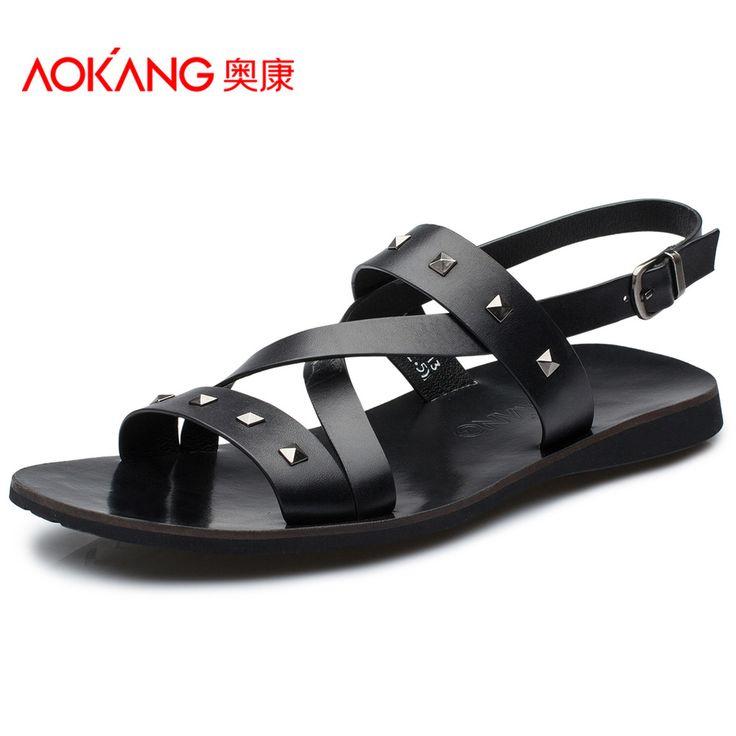 Aokang scarpe estive 2015 nuova tendenza sandali di cuoio casuali degli uomini traspirante e confortevole sandali rivet inghilterra(China (Mainland))