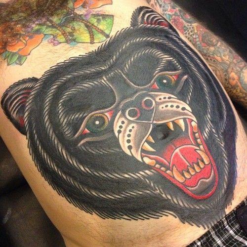 Traditional bear head tattoo - photo#12
