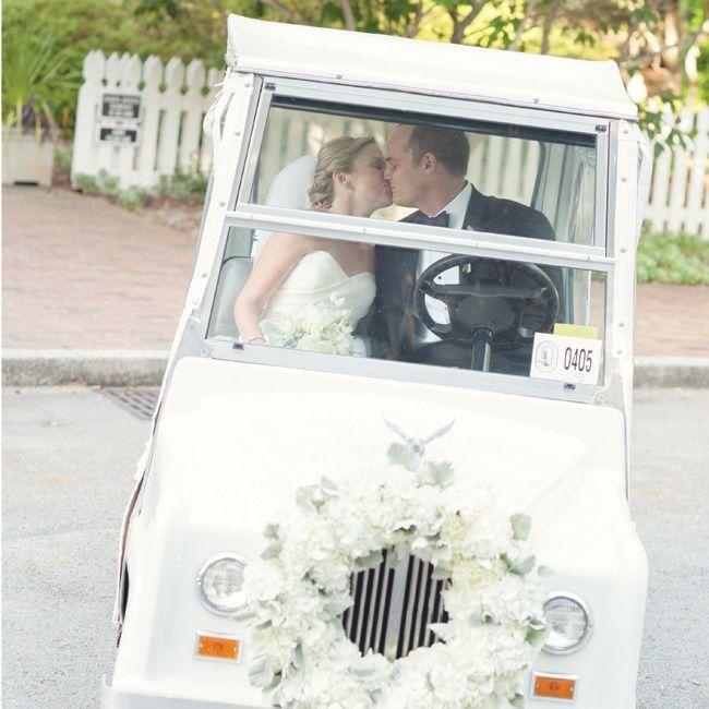 Golf Cart Transportation // Anne Liles Photography // http://www.theknot.com/weddings/album/an-elegant-minimalism-wedding-in-bald-head-island-nc-134449