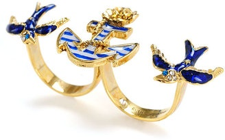 ShopStyle: Betsey Johnson Bestey Johnson Ring, Anchor and Bird Two Finger Ring