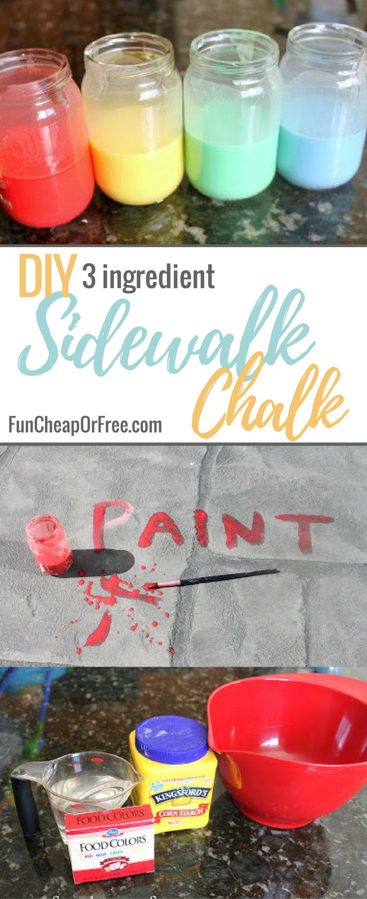 DIY 3 Ingredient Sidewalk Chalk Paint | My favorite 3-ingredient homemade sidewalk chalk paint recipe to kill all those summer boredom blues! FunCheapOrFree.com