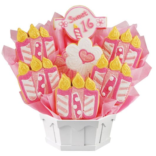 A tasty Sweet 16 cookie bouquet. Personalize it for free!