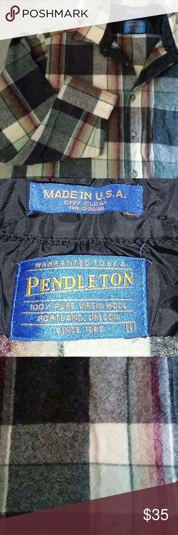 Pendleton wool shirt Fabulous 100% virgin wool long sleeve Pendleton shirt. In perfect condition no rips stains or tears . measurements are 26 and a half inches from collar seam to hem and 40 inches around waste. Pendleton Shirts