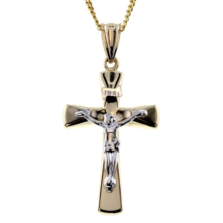 Buy 9ct Two Tone Gold Cross Pendant (RCP-22) online at Chain Me Up