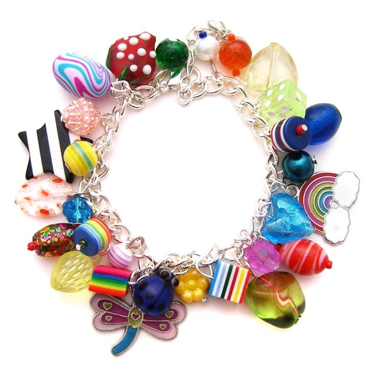 Sequin Mixed Rainbow Charm Bracelet m8iITKXF