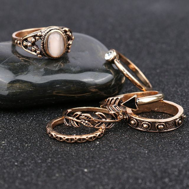 6 Pçs/set Conjuntos Anel Designer de Moda Vintage Antigo Liga Natureza Opala Branco anéis Midi para As Mulheres conjuntos de anillo