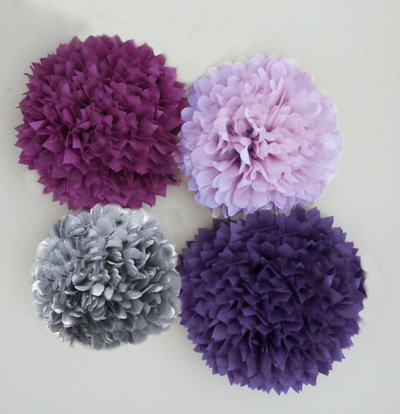 Purple, Lilac, Plum, and Grey Tissue Paper Pom Poms | 4 Piece Set | Weddings | Bridal Shower | Birthday | Nursery | Party Decorations by PomJoyFun on Etsy https://www.etsy.com/listing/200806954/purple-lilac-plum-and-grey-tissue-paper