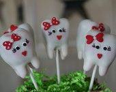 """Tooth cake pops.  I'll find a reason to make these!! Maybe """"Lost first tooth"""" or """"got braces off""""."""