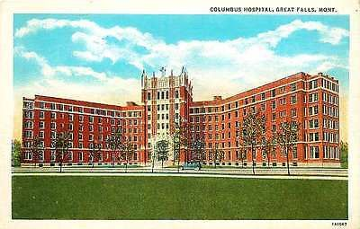 Great Falls Montana MT 1931 Columbus Hospital Collectible Vintage Postcard Great Falls Montana MT 1940s Columbus Hospital. Unused Curteich antique vintage postcard in very good condition with average