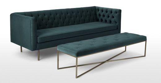 Julianne 3-Sitzer Sofa, Samt in Blaugrün | MADE.COM