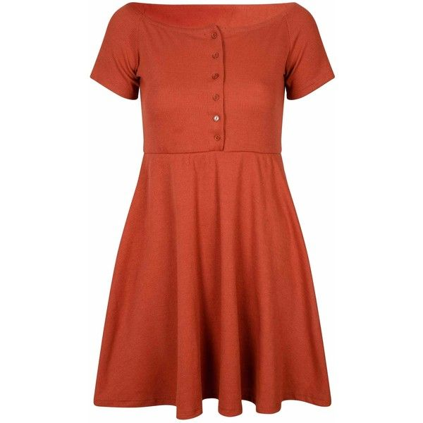 Rust Ribbed Button Down Skater Dress ($35) ❤ liked on Polyvore featuring dresses, orange, skater dress, red orange dress, short sleeve cotton dress, red off the shoulder dress and red cotton dress