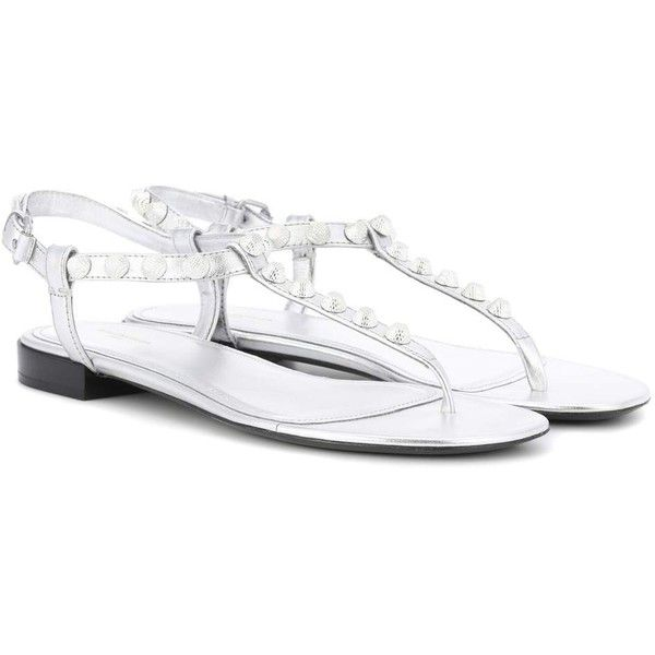 Balenciaga Giant Stud Leather Sandals ($515) ❤ liked on Polyvore featuring shoes, sandals, flat, silver, flat sandals, leather shoes, balenciaga, leather sandals and studs shoes