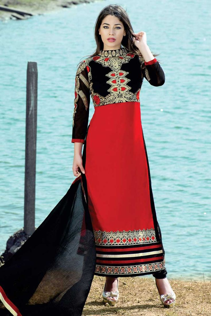 #Andaazfashion présente Noir et rouge Georgette Ensemble Churidar Avec Dupatta   http://www.andaazfashion.fr/salwar-kameez/churidar-suits/black-and-red-georgette-churidar-suit-with-dupatta-dmv13690.html