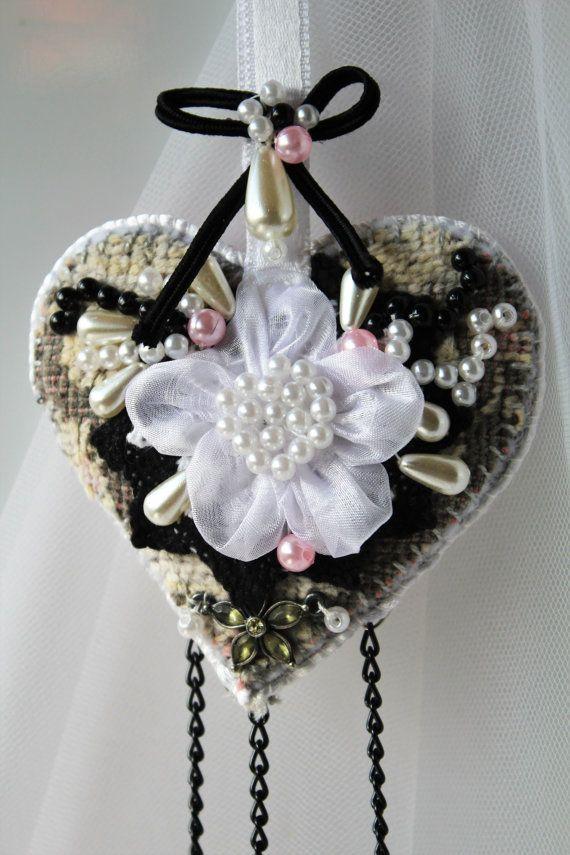 Wedding keepsake ornament Heart decor in vintage by MyFairyHearts