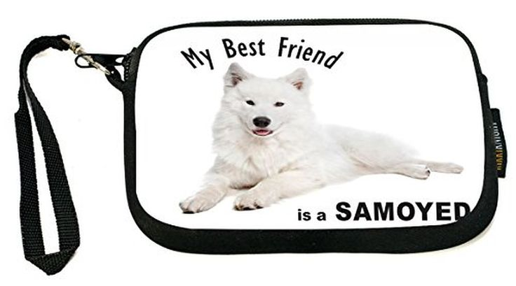 UKBK My Best Friend is a Samoyed Dog - Neoprene Clutch Wristlet with Safety Closure - Ideal case for Camera, Cell Phone, Gameboy, Passport, Cosmetics