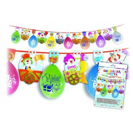 guirnalda globos payasos para fiestas infantiles