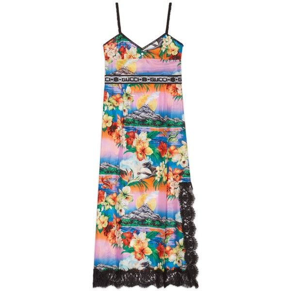 Gucci Hawaiian Print Silk Dress (€1.830) ❤ liked on Polyvore featuring dresses, new dresses, ready-to-wear, women, button dress, hawaiian print dress, gucci dress, front slit dress and hawaiian dress