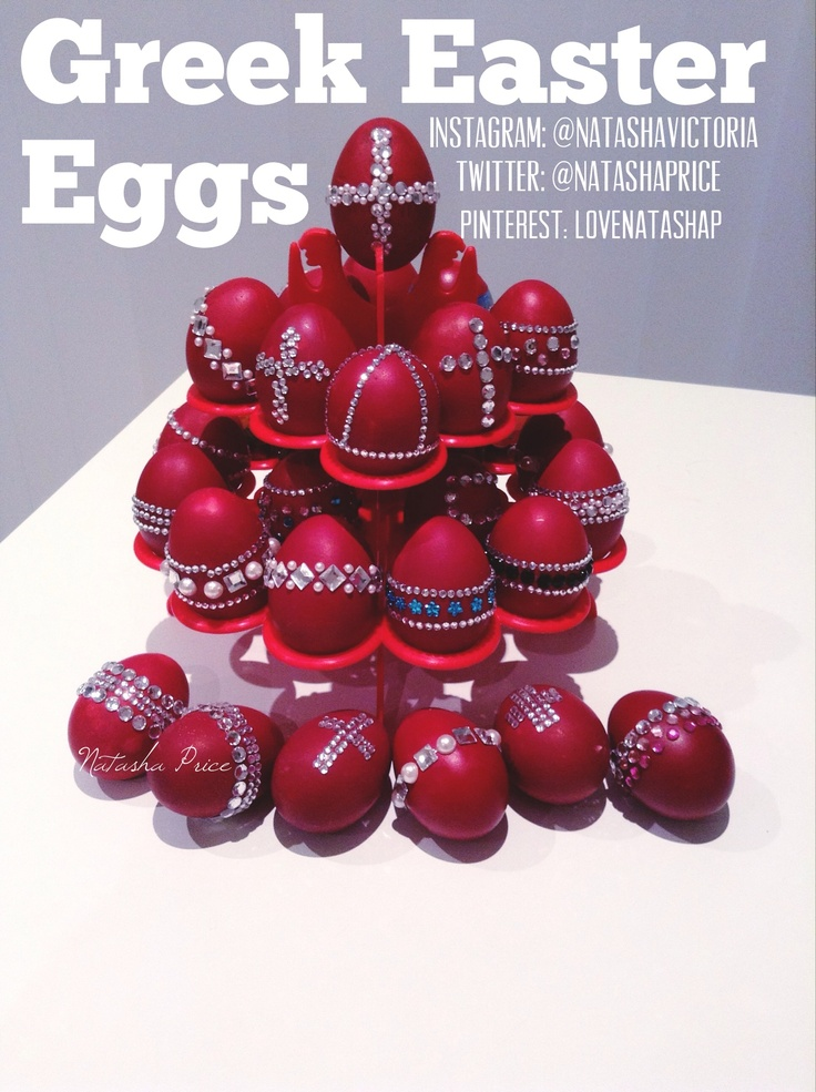 Traditions with a twist! We blinged out & crystallized the Greek Easter eggs this year! Usually people decorate dye them red & add @ stickers or wraps, but we decided to amp it up this year. The first bling red eggs I have seen!