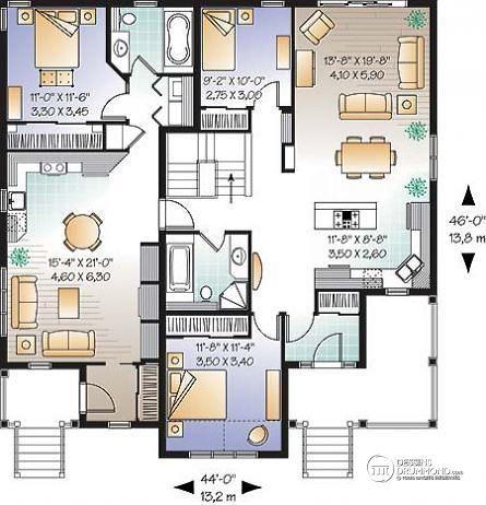 rez de chausse plain pied bi gnration 2 chambres sjour remdes maisonplans - Application Pour Plan De Maison