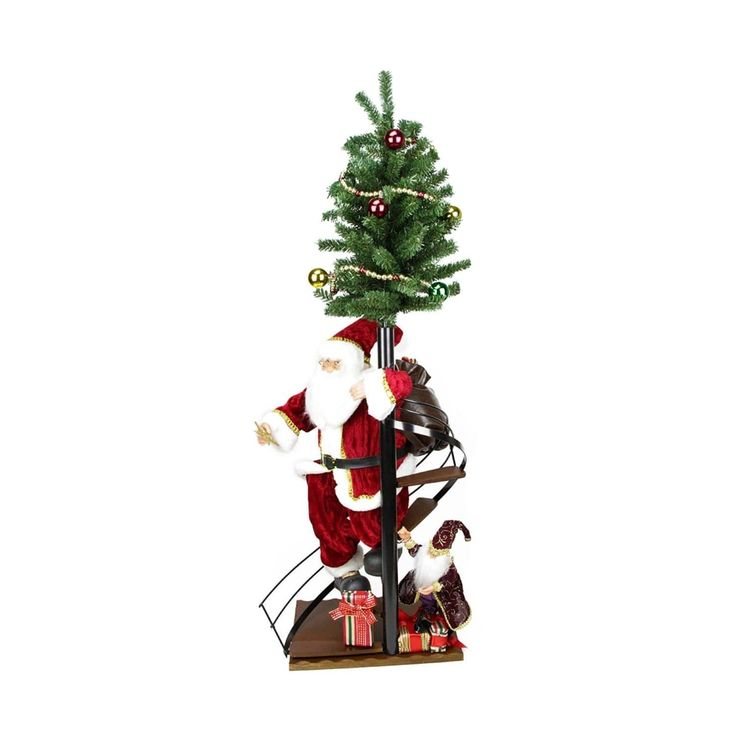 """50"""" Santa Claus on Spiral Staircase with Tree and Elf Christmas Figure on Wooden Base"""