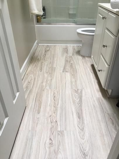 Attic floor? TrafficMASTER Allure 6 in. x 36 in. Alpine Elm Luxury Vinyl Plank Flooring baño pequeño