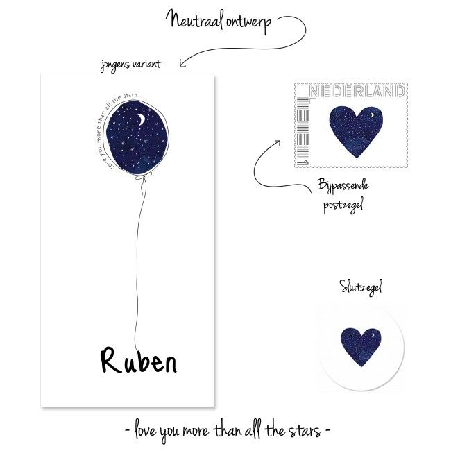 Geboortekaartje Ballon Lief Sterren voor baby jongen. illustratie - ster - maan - ballon  - hart -geboortekaart - lief -stoer - postzegel -sluitsticker