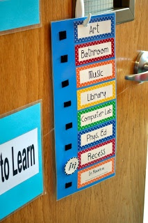 """""""Where Are We?"""" sign for outside classroom."""