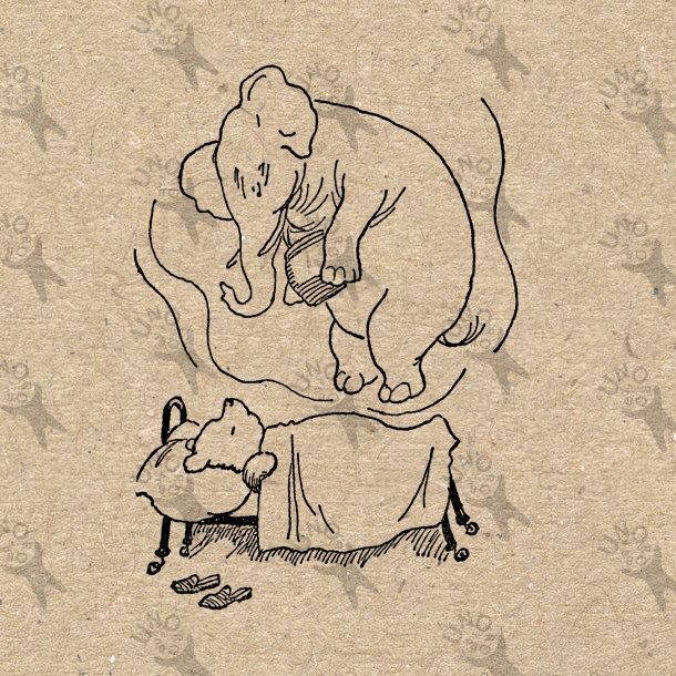 Winnie the Pooh Dream Heffalump drawing Instant Download Digital printable vintage clipart graphic burlap paper transfer scrapbooking 300dpi by UnoPrint on Etsy