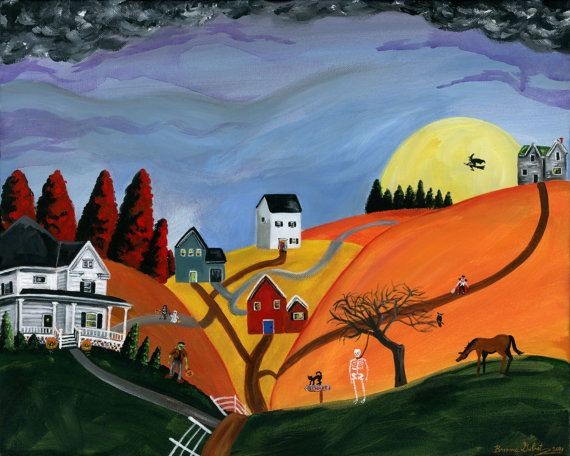 OOAK Hilly Haunting 16x20 Halloween Original Folk Art Painting w/ Spooky White House on Etsy, $481.32