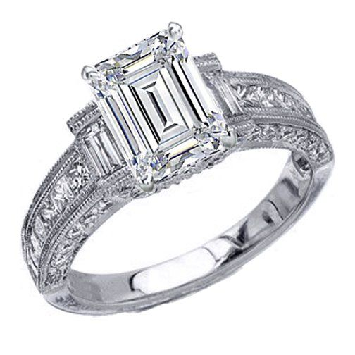 fancy engagement ring vintage style emerald cut diamond engagement ring setting 1 tcw - Fancy Wedding Rings