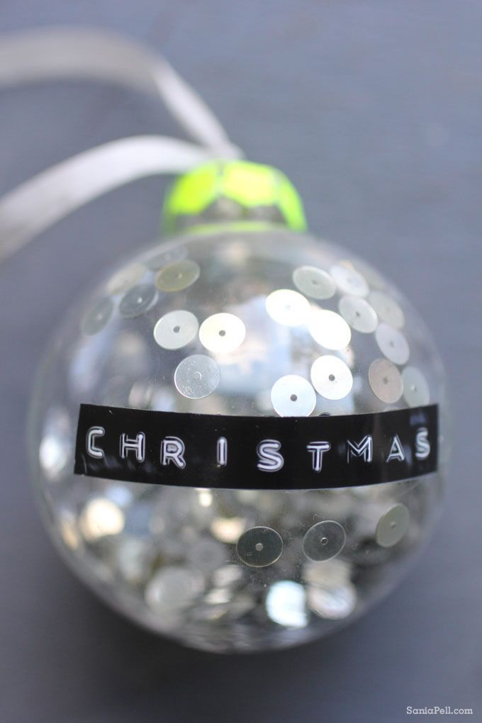 Homemade sequin Christmas bauble by Sania Pell