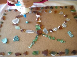 Collage with sea glass
