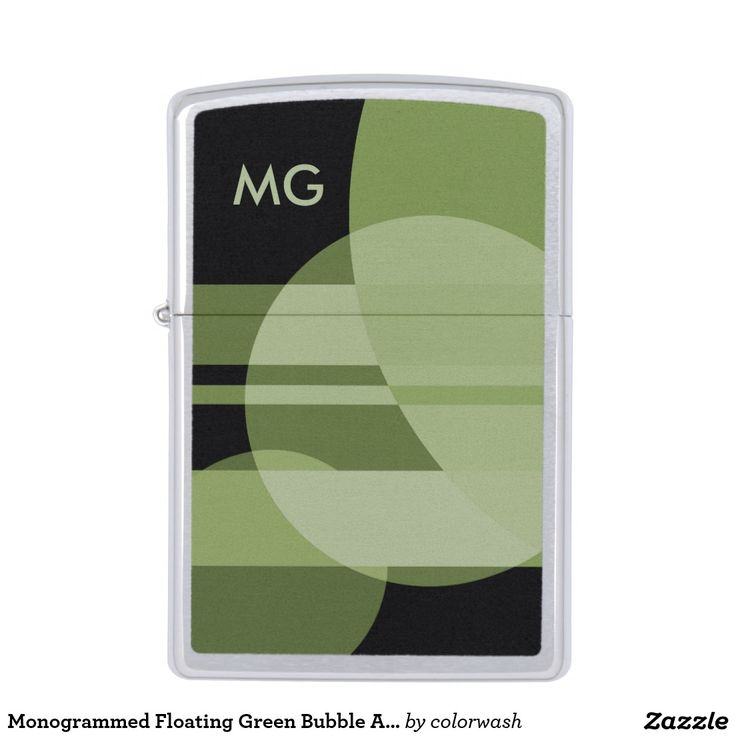 Monogrammed Floating Green Bubble Abstract Zippo Lighter - A monogrammed abstract of floating green bubbles creates a distinctive and sophisticated lighter to suit all kinds of tastes. #Zippo #lighters