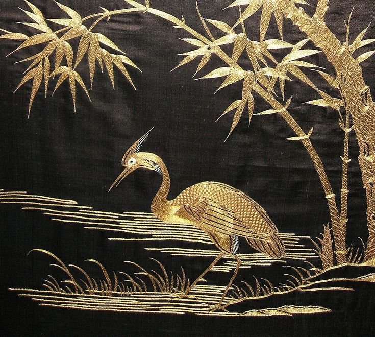 Silk and Gold Embroidered Japanese Panel with Cranes