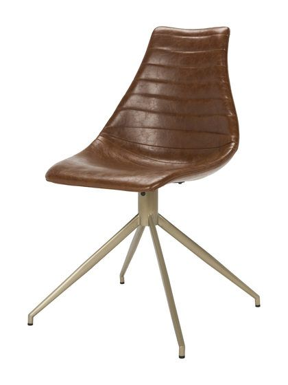 Lynette Mid-Century Modern Leather Swivel Dining Chair by Safavieh at Gilt